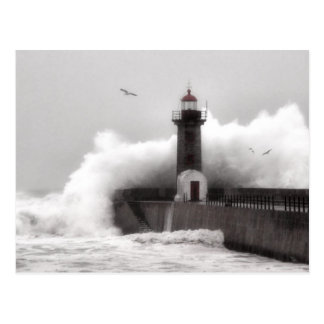 Storm at the Lighthouse Postcard