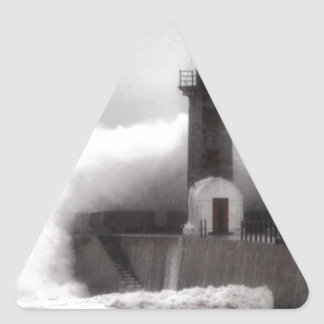 Storm at the Lighthouse Triangle Sticker