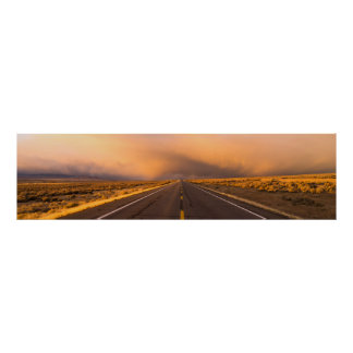 Storm Brews over Two Lane Highway At Sunset Poster
