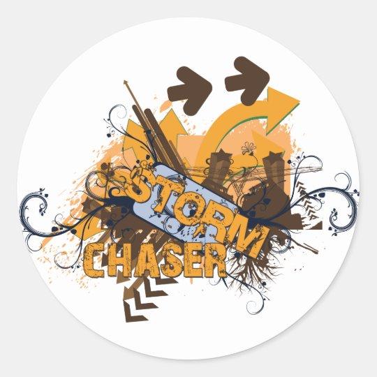 Storm Chaser Grunge Classic Round Sticker