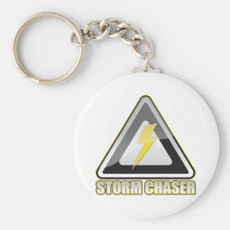 Storm Chaser Lightning Basic Round Button Keychain