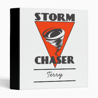 Storm Chaser Tornado and Red Triangle 3 Ring Binders