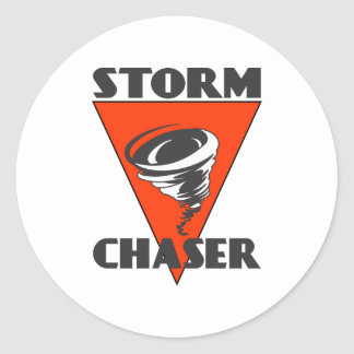 Storm Chaser Tornado and Red Triangle Classic Round Sticker