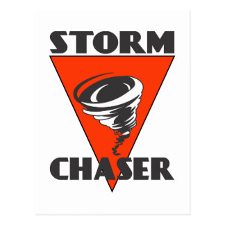 Storm Chaser Tornado and Red Triangle Postcard