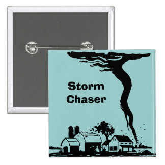 Storm Chaser Tornado Twister Weather Meteorology 2 Inch Square Button
