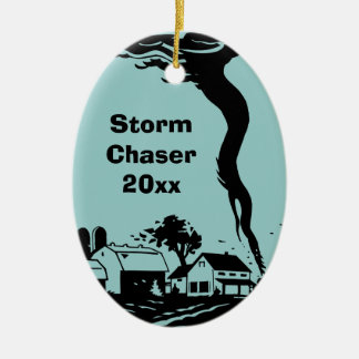 Storm Chaser Tornado Twister Weather Meteorology Double-Sided Oval Ceramic Christmas Ornament