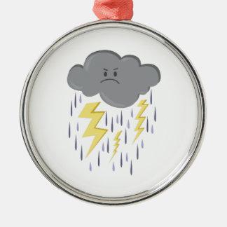 Storm Cloud Round Metal Christmas Ornament