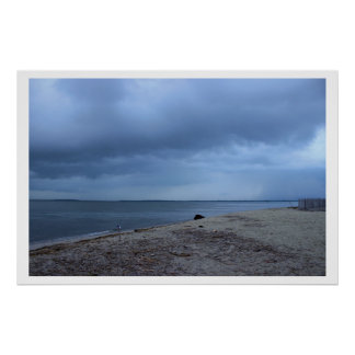 Storm Cloud Over Beach Poster