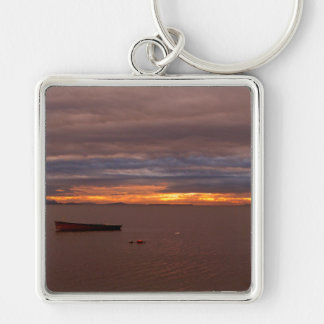 Storm Clouds At Sunset Silver-Colored Square Keychain