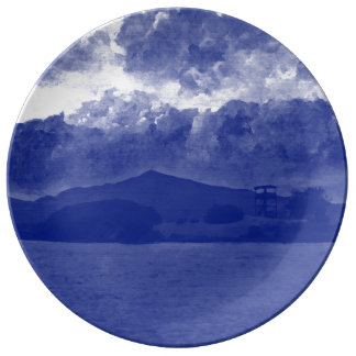 STORM CLOUDS [blue] Dinner Plate