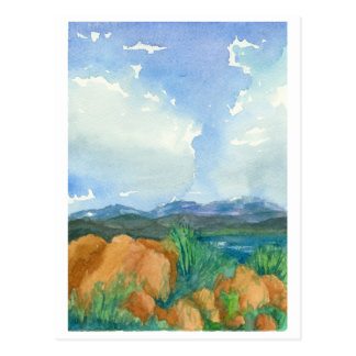 Storm Clouds Mountain Lake Watercolor Painting Postcard