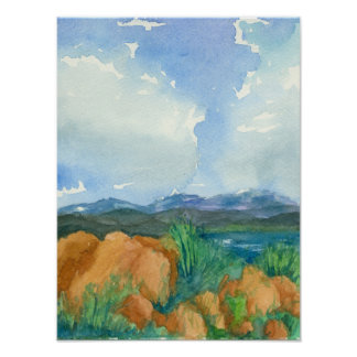 Storm Clouds Mountain Lake Watercolor Painting Poster