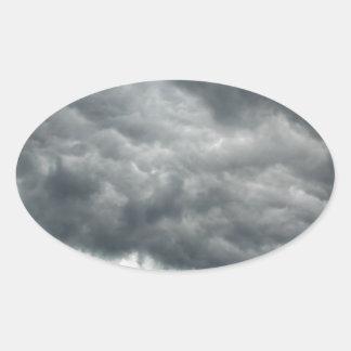 Storm Clouds Oval Sticker