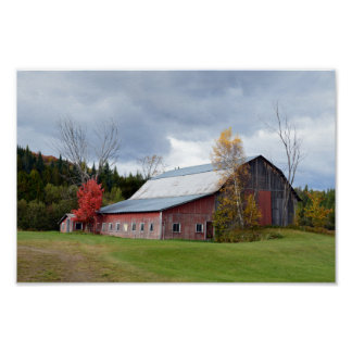 Storm Clouds over Vermont Barn Poster