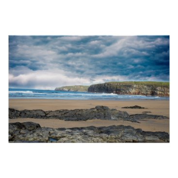 Beach Themed storm clouds with soft cliff waves poster