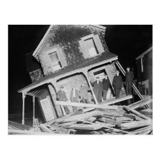 Storm Damaged House Postcard
