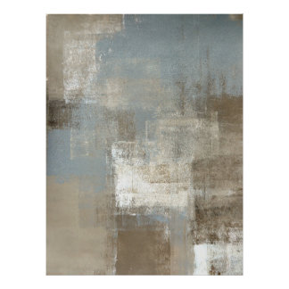 'Storm' Grey and Beige Abstract Art Poster Print