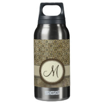 Storm Grey Coin Pattern with Monogram Insulated Water Bottle