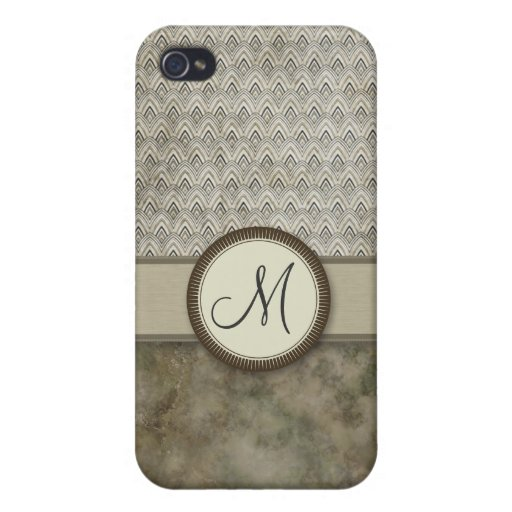 Storm Grey Feather Pattern with Monogram iPhone 4 Case
