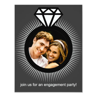 Storm Grey The Ring Photo Engagement Party 4.25x5.5 Paper Invitation Card