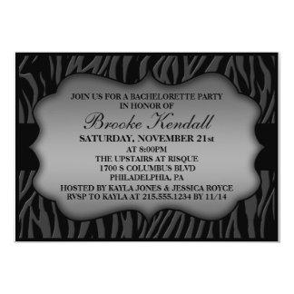 Storm Grey Wild Night Zebra Bachelorette Party 5x7 Paper Invitation Card