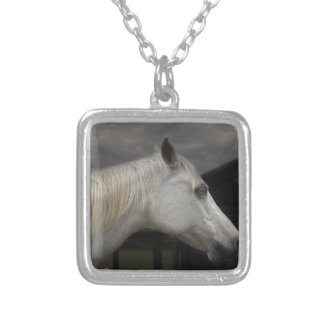 Storm horse silver plated necklace