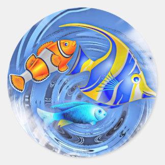 storm in the aquarium (C) Classic Round Sticker
