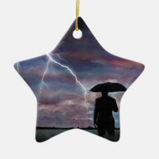 storm lightning landscape fields nature sunset ceramic ornament