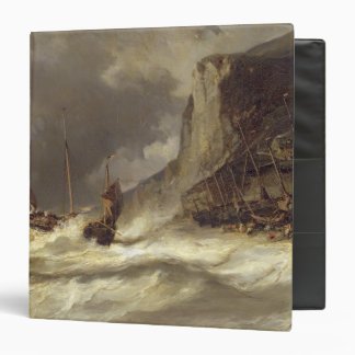 Storm on the Coast at Etretat, Normandy, 1851 3 Ring Binder