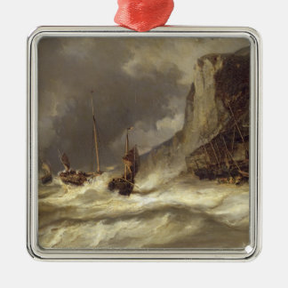 Storm on the Coast at Etretat, Normandy, 1851 Metal Ornament