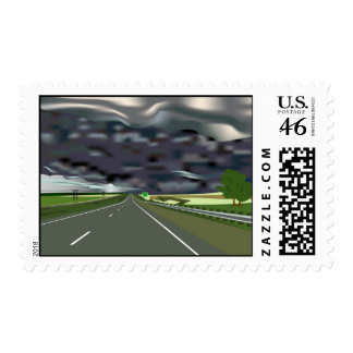 Storm on the Horizon with Interstate Highway Postage