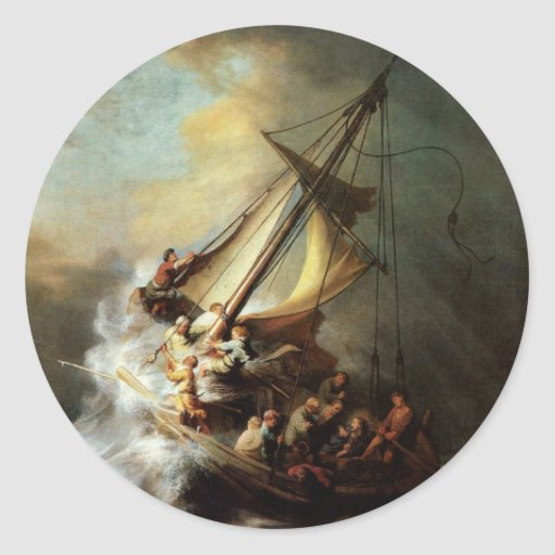 Storm on the Sea of Galilee Classic Round Sticker