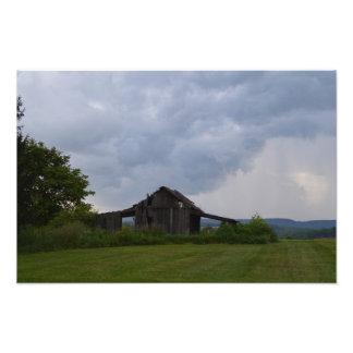Storm over barn photo print