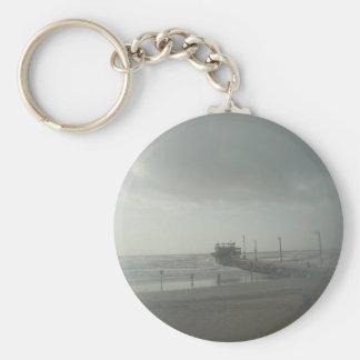 Storm over Galveston, Tx Basic Round Button Keychain