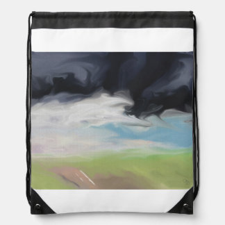 Storm Over Land and Road Art Drawstring Backpack