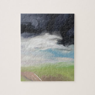 Storm over Land and Road Art Puzzle