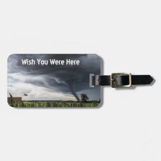Storm tornado lifing hay bales luggage tag