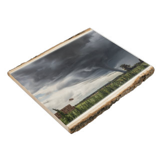 Storm tornado or twister lifing hay in bad weather wood panel