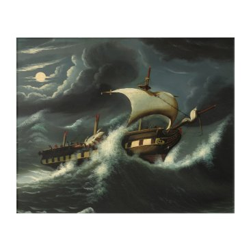Art Themed Storm Tossed Frigate by Thomas Chambers Acrylic Wall Art