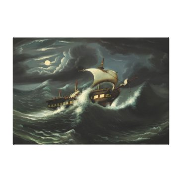 Art Themed Storm Tossed Frigate by Thomas Chambers Canvas Print