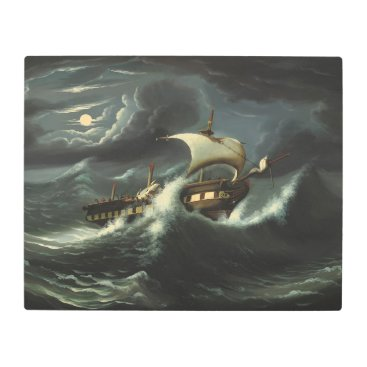 Art Themed Storm Tossed Frigate by Thomas Chambers Metal Print
