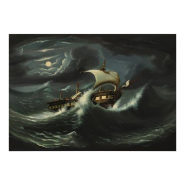 Art Themed Storm Tossed Frigate by Thomas Chambers Poster