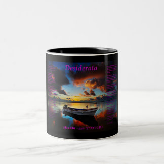 Storm with a old roll boat and a small engine Two-Tone coffee mug