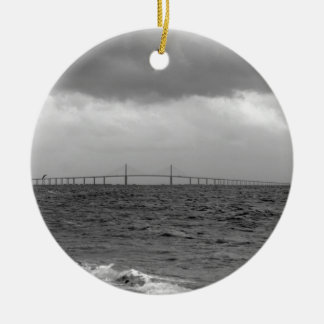 Storming at the Skyway 2 Ceramic Ornament