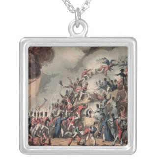 Storming of St. Sebastian, engraved by Thomas Silver Plated Necklace
