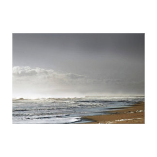 Storming Sea, Distant Pier Canvas Print