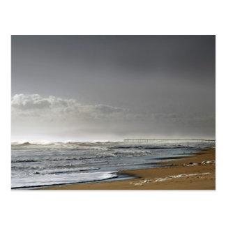 Storming Sea, Distant Pier Postcard