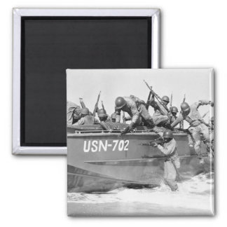 Storming the Beach, 1940s 2 Inch Square Magnet