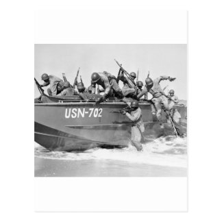 Storming the Beach, 1940s Postcard
