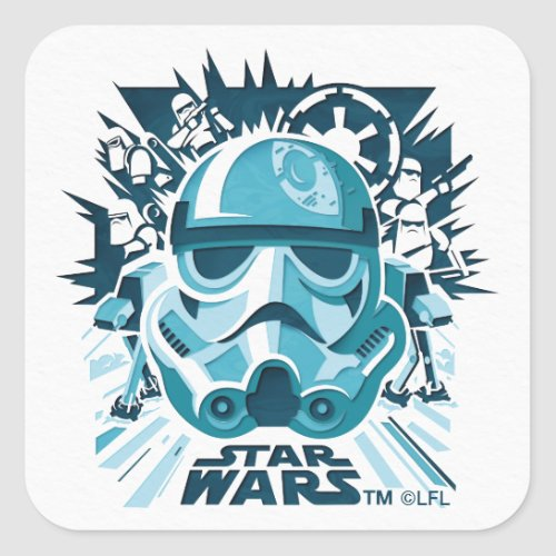 Stormtrooper Paper Cut_Out Collage Square Sticker